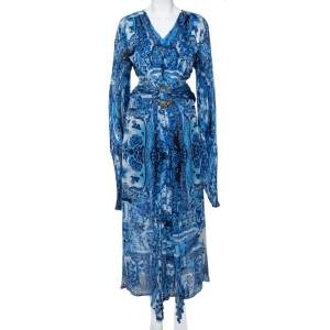 Roberto Cavalli Blue Printed Silk Belted Maxi Dress L