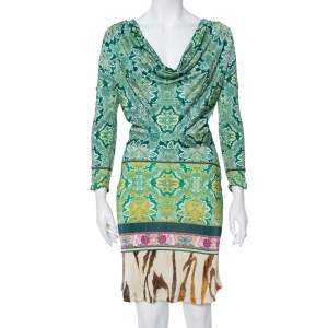 Roberto Cavalli Multicolor Printed Cowl Neck Long Sleeve Dress M