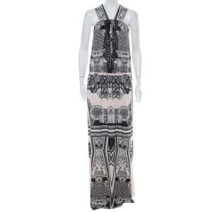 Roberto Cavalli Multicolor Printed Jersey Cutwork Neckline Detail Maxi Dress S