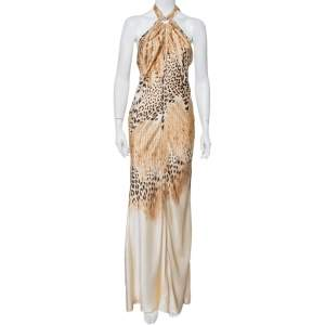 Roberto Cavalli Beige Animal Printed Silk Satin Halter Neck Maxi Dress M