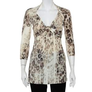 Roberto Cavalli Cream Animal Printed Knit Drape Detail Tunic M