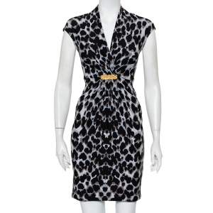 Roberto Cavalli Black & Grey Animal Printed Draped Waist Detail Mini Dress S