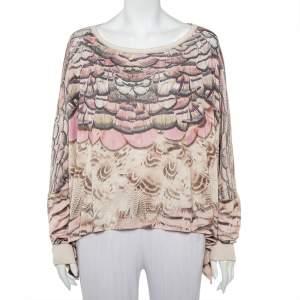 Roberto Cavalli Beige Printed Silk Knit Oversized Sweatshirt M