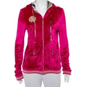Roberto Cavalli Pink Velour Hooded Zip Front Jacket L