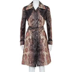 Roberto Cavalli Brown Snakeskin Printed Silk Button Front Belted Trench Coat S