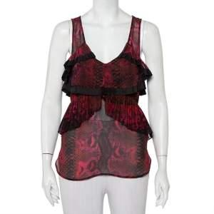 Roberto Cavalli Multicolor Snakeskin Printed Silk Pleated Detail Sleeveless Top S