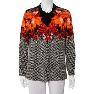 Roberto Cavalli Monochrome Contrast Floral Printed Silk Neck Tie Detail Button Front Top L