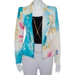 Roberto Cavalli Multicolor Floral Printed Cotton Chain Detail Blazer M