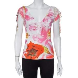Roberto Cavalli Vintage Pink Floral Printed Knit V-Neck Top L