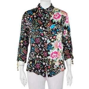 Roberto Cavalli Black Floral Printed Silk Satin Button Front Shirt XL