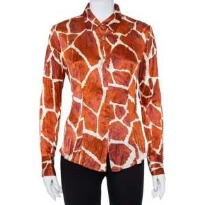 Roberto Cavalli Brown Printed Silk Button Front Shirt M