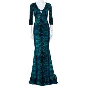 Roberto Cavalli Blue Snakeskin Printed Jersey Maxi Dress M