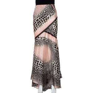 Roberto Cavalli Multicolor Animal Printed Silk Paneled Maxi Skirt S