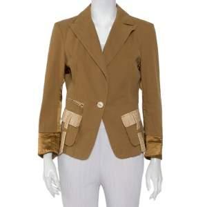 Roberto Cavalli Brown Denim Leather Trim Button Front Blazer L