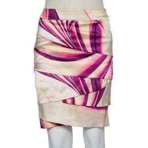 Roberto Cavalli Multicolor Printed Silk Satin Tiered Mini Skirt S