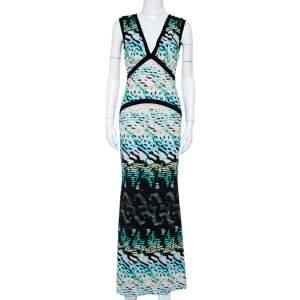 Roberto Cavalli Multicolor Printed Knit Paneled Sleeveless Maxi Dress M
