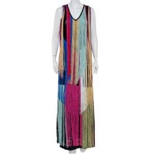 Roberto Cavalli Multicolor Knit Fringed Maxi Dress M