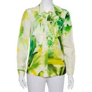 قميص روبرتو كافالي أزرار أمامية مزين منفوش حرير مطبوع أخضر مقاس وسط (ميديوم)