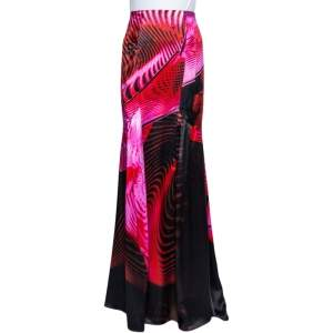 Roberto Cavalli Multicolor Printed Silk Satin Paneled Maxi Skirt L