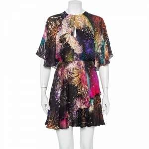 فستان ميني روبرتو كافالي حرير مكشكش فايروورك متعدد الألوان مقاس صغير - سمول