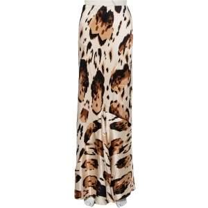Roberto Cavalli Beige Printed Silk Satin Flared Maxi Skirt M