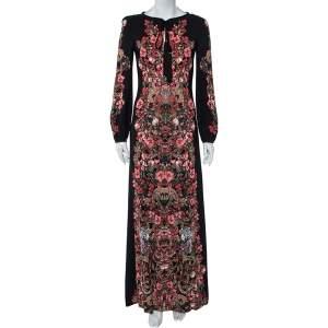 Roberto Cavalli Black Forest Printed Crepe Maxi Dress S