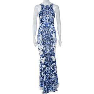 Roberto Cavalli White & Blue Printed Jersey Lace Detail Sleeveless Maxi Dress M