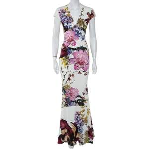 Roberto Cavalli Cream Floral Printed Jersey Fitted Maxi Dress S