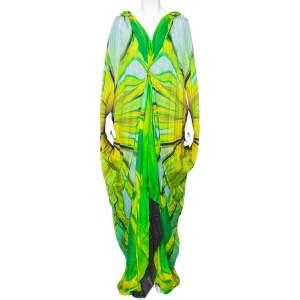 Roberto Cavalli Green Printed Silk Draped Kaftan Maxi Dress M