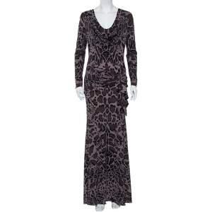 Roberto Cavalli Charcoal Grey Printed Jersey Draped Neck Maxi Dress M