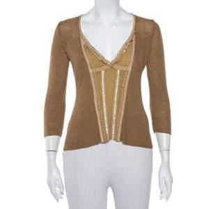Roberto Cavalli Camel Brown Wool V-Neck Paneled Long Sleeve Top M