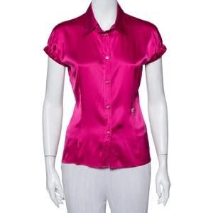 قميص روبرتو كافالي حرير ساتان وردي بأزرار أمامية أكمام قصيرة مقاس متوسط - ميديوم