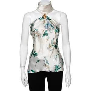 Roberto Cavalli White Floral Printed Silk Satin Halter Neck Top S