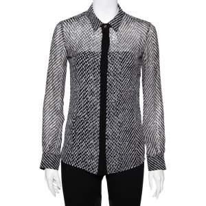Roberto Cavalli Monochrome Silk Long Sleeve Sheer Blouse S