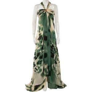 Roberto Cavalli Green & Cream Silk Bustier Detail Halterneck Gown M