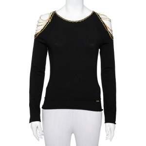 Roberto Cavalli Black Wool Chain Detail Cold Shoulder Top L