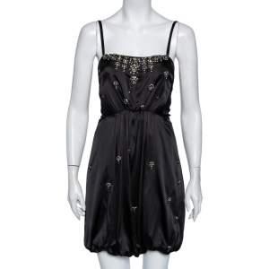 Roberto Cavalli Black Crystal Embellished Silk Satin Waist Tie Detail Mini Dress S