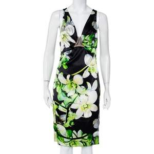 Roberto Cavalli Black Floral Printed Silk Satin Plunging Neck Dress M