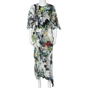 Roberto Cavalli Multicolor Printed Crushed Silk Asymmetric Dress M