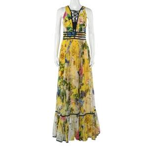 Roberto Cavalli Yellow Floral Printed Silk Lace Up Detail Sleeveless Maxi Dress S