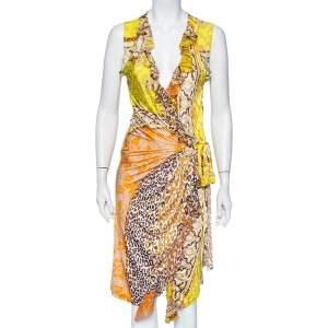 Roberto Cavalli Yellow Printed Jersey Ruffle Trim Faux Wrap Midi Dress M