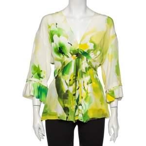 Roberto Cavalli Multicolor Printed Silk Top M