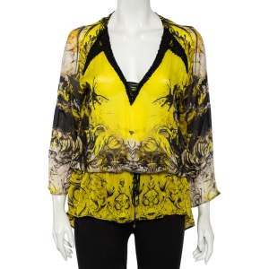Roberto Cavalli Yellow Printed Silk Sequin Detail Oversized Tunic S