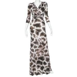 Roberto Cavalli Beige Animal Printed Jersey Faux wrap Draped Maxi Dress S