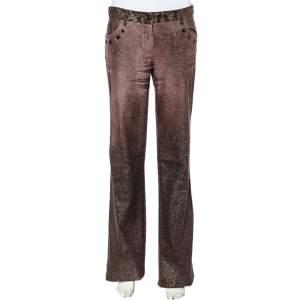 Roberto Cavalli Purple Lurex Denim Embellished Waist Detail Straight Leg Denim XL