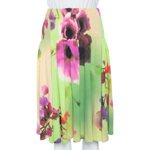 Class by Roberto Cavalli Green Floral Printed Jersey Ruched Waist Skirt L