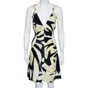 Roberto Cavalli Yellow & Black Abstract Printed Jersey Ruched Midi Dress M