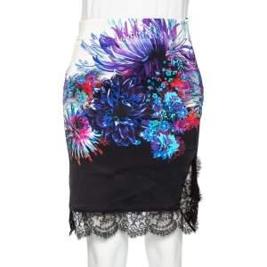Roberto Cavalli Multicolor Stretch Crepe Lace Hem Mini Skirt S
