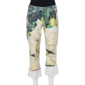 Roberto Cavalli White Floral Printed Denim Cuffed Hem Jeans XS