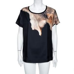 Roberto Cavalli Black Animal Print Silk Blouse L
